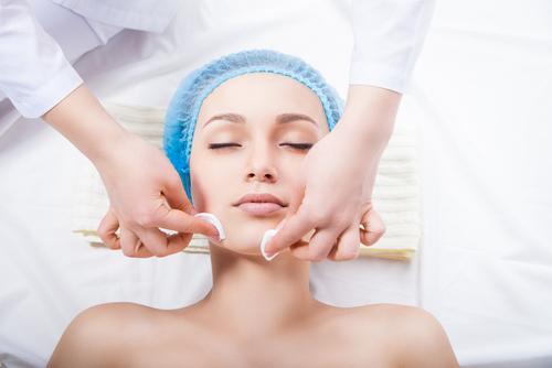 patient receiving face treatment